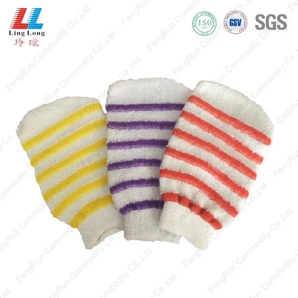 条纹沐浴手套